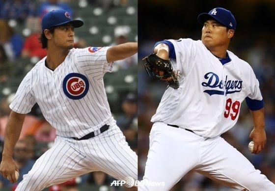 시카고 컵스 다르빗슈 유(좌)와 LA 다저스 류현진. /AFPBBNews=뉴스1