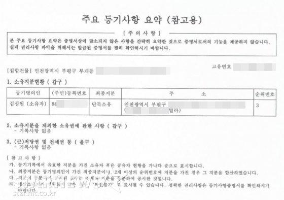 래퍼 슬리피(35, 김성원)가 지난 2007년 매매했던 인천 부평구 모 빌라의 근저당권 및 전세권, 소유권에 관한 사항 내용이 주요 등기사항 요약본 /사진=스타뉴스