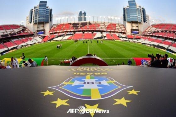 한국-브라질전을 앞두고 있는 모하메드 빈 자예드 경기장 모습. /AFPBBNews=뉴스1