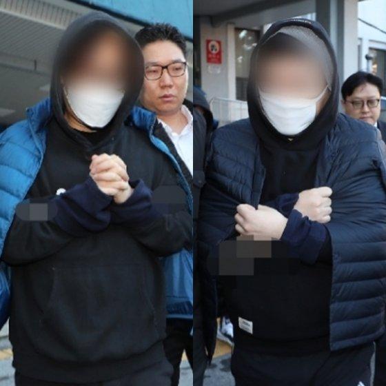 엠넷 \'프로듀스X101\'의 득표수를 조작했다는 혐의로 구속된 안준영 PD(왼쪽)와 김용범 CP가 지난 11월 14일 오전 서울 종로경찰서에서 나와 검찰로 송치되고 있다. /사진=뉴스1