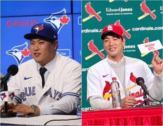 류현진(왼쪽)-김광현.  /사진=토론토, 세인트루이스 공식 SNS 캡처