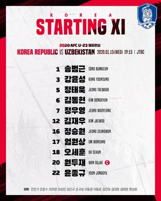 한국의 우즈베키스탄전 베스트11. /사진=대한축구협회 공식 트위터