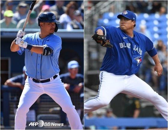 쓰쓰고(왼쪽)과 류현진. /AFPBBNews=뉴스1, 토론토 공식 SNS