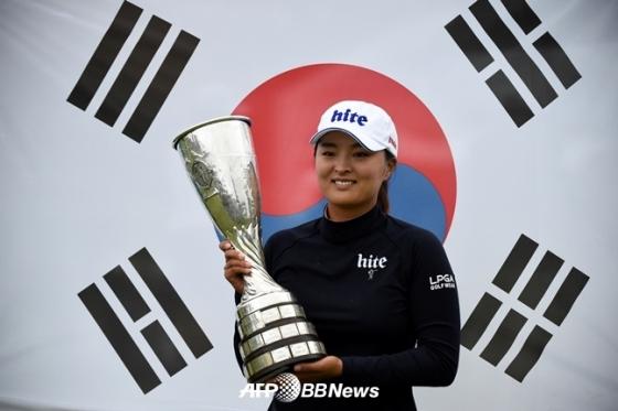 지난해 에비앙챔피언십에서 우승한 고진영./AFPBBNews=뉴스1