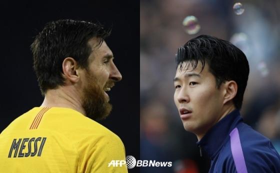 메시(왼쪽)와 손흥민. /AFPBBNews=뉴스1