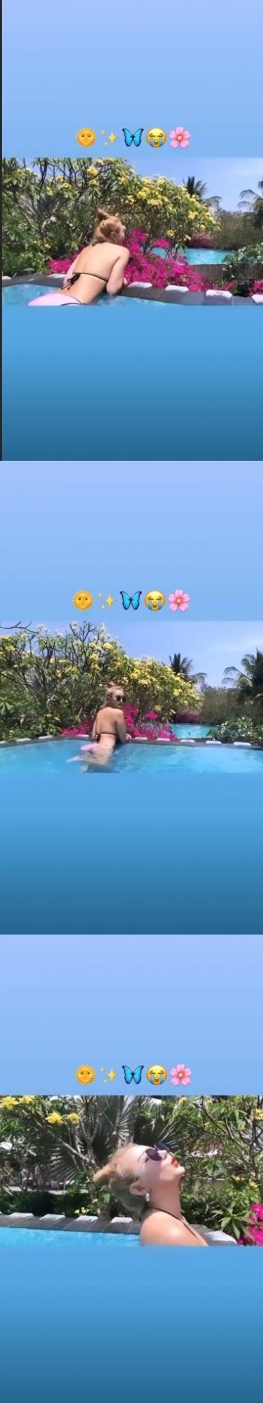 EXID LE, 수영장서 뽐낸 비키니 뒤태..'여유로워 보여'