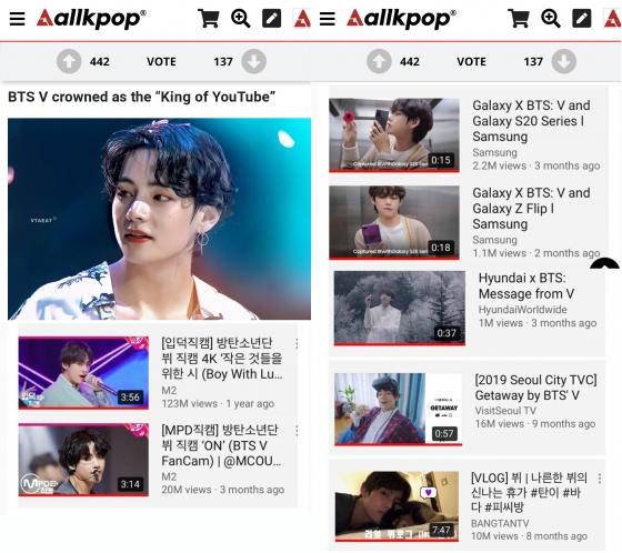 방탄소년단 뷔, 압도적 유튜브 브랜드파워..'직캠제왕'