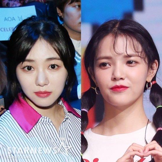 (왼쪽부터) AOA 민아, 지민 /사진=스타뉴스