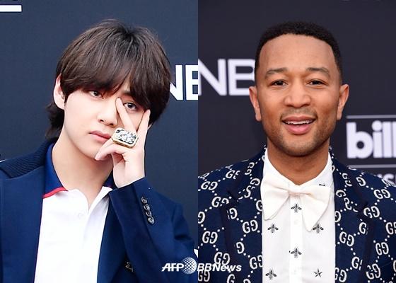 2018 빌보드 시상식 당시 방탄소년단(BTS) 뷔와 존 레전드(John Legend) /AFPBBNews=뉴스1