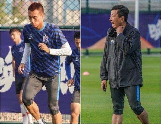 김신욱(왼쪽)과 최강희 감독. /사진=상하이 선화 웨이보