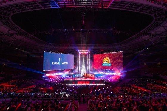 롤드컵 결승이 열린 상해 푸동 아레나 현장 모습. /사진=라이엇 게임즈 제공