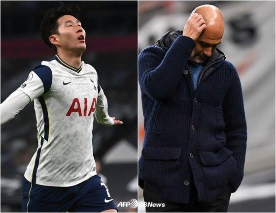 손흥민(왼쪽)이 22일 맨체스터 시티 상대로 득점을 올리자 펩 과르디올라 감독(오른쪽)이 자책하고 있다. /AFPBBNews=뉴스1