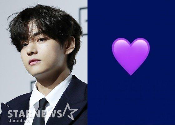 방탄소년단 뷔(BTS V)와 \'보라해\'를 상징하는 보라색 이모티콘