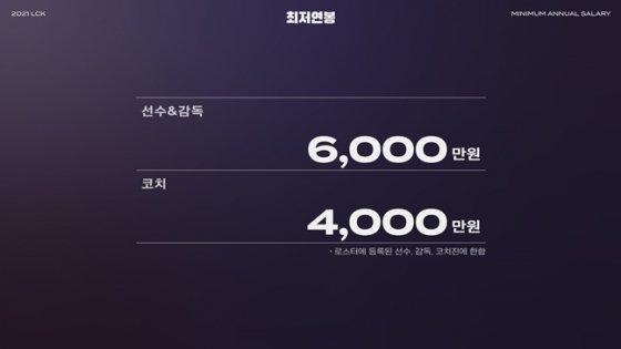 선수와 감독의 최저 연봉, 코치의 최저 연봉이 각각 6000만원과 4000만원으로 확정됐다. /사진=라이엇 게임즈 제공