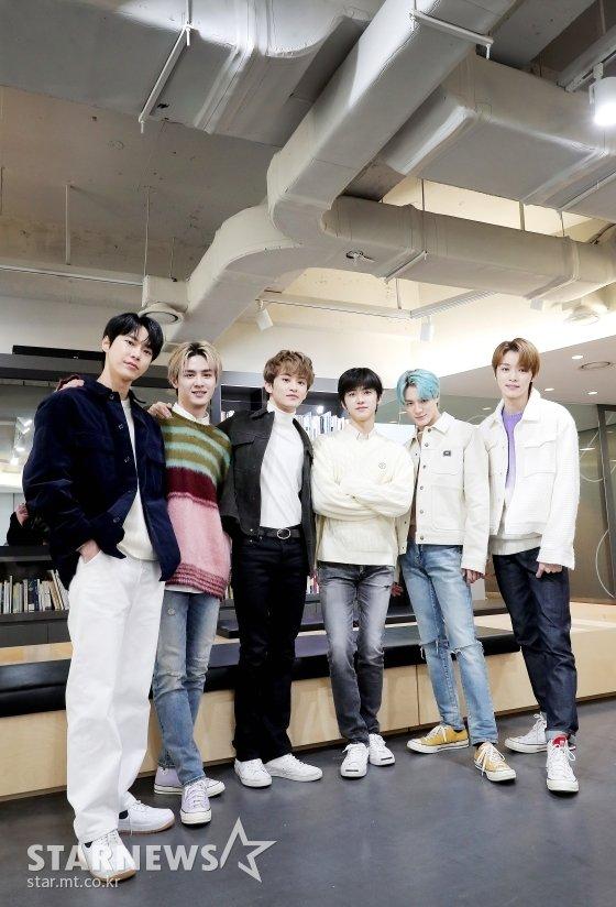 (왼쪽부터) 아이돌그룹 NCT 멤버 도영, 쿤, 마크, 재민, 제노, 성찬 /사진=김창현 기자