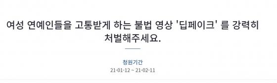 딥페이크 처벌 국민청원 하루만에 11만명 동의..여성연예인들 고통1