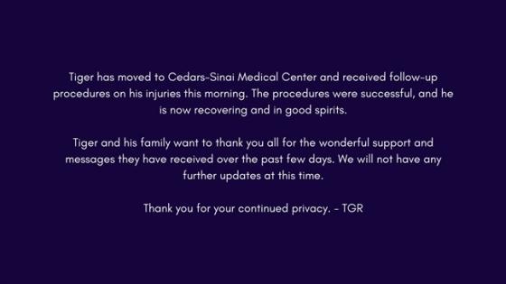 타이거 우즈가 후속 수술을 받았다는 사실을 알렸다./사진=타이거 우즈 트위터