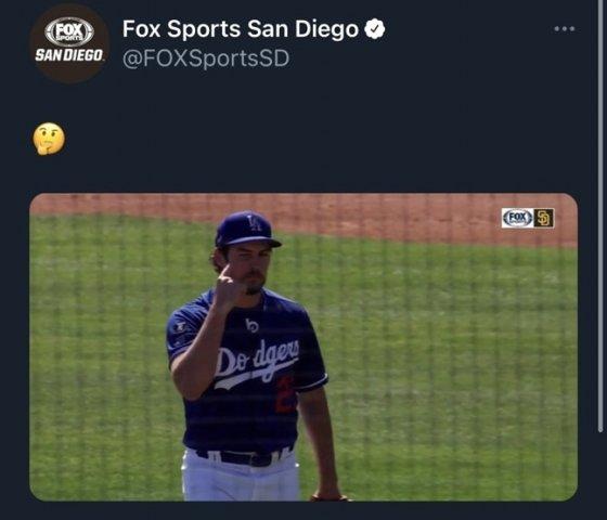 바우어가 김하성을 삼진으로 돌려세운 뒤 손가락으로 자신의 눈을 가리키고 있다. 현재 이 게시물은 삭제된 상태다. /사진=미국 폭스스포츠 샌디에이고 트위터 캡처