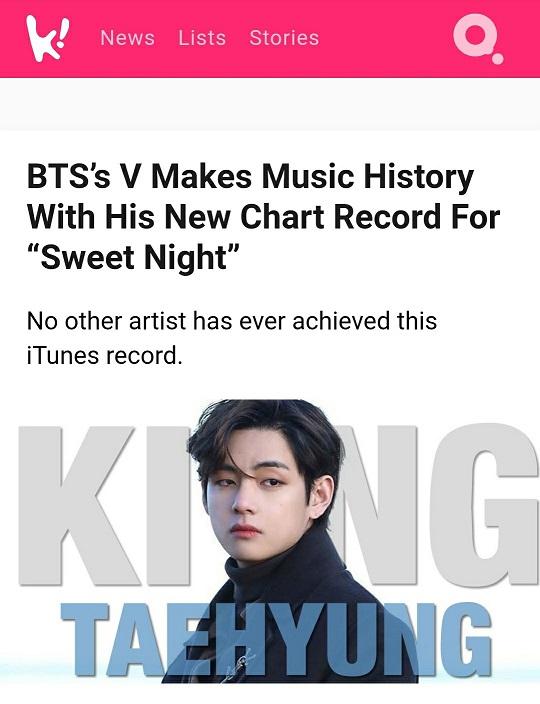 방탄소년단 뷔 'Sweet Night' 118개국 아이튠즈 1위 '대기록'..네팔 1위 추가, 새역사 열었다