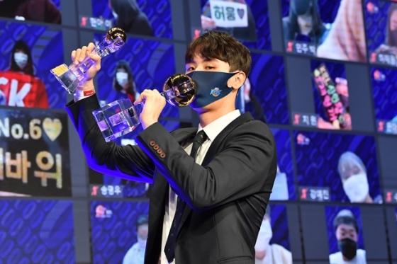 2020~2021시즌 MVP에 등극한 KCC 송교창. /사진=KBL 제공