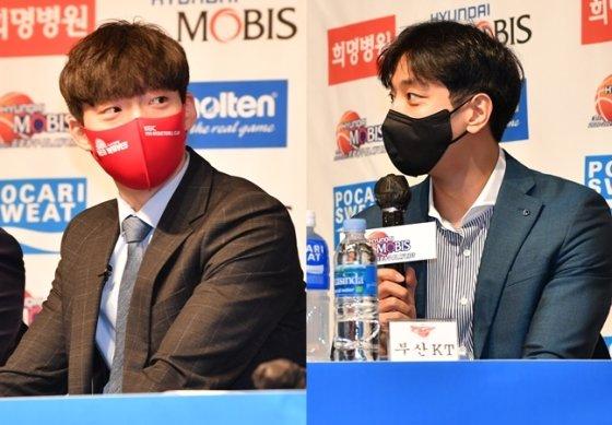 2020~2021 플레이오프 미디어데이에 참석한 안양 KGC 이재도(왼쪽)와 부산 KT 허훈. /사진=KBL 제공