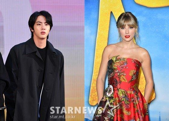 방탄소년단 진(BTS JIN)과 테일러 스위프트(Taylor Swift) /AFPBBNews=뉴스1=스타뉴스