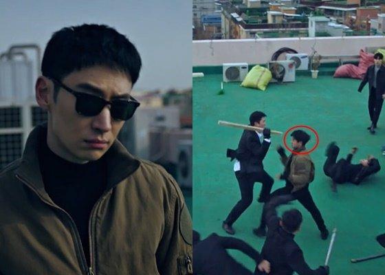 짧은 헤어스타일의 이제훈(왼쪽), 대역 배우(오른쪽) / 사진=드라마 캡처