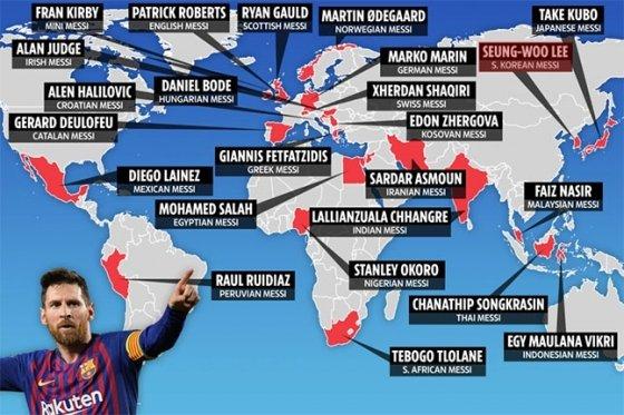 영국 '더 선'이 꼽은 전 세계 각국의 제2의 메시. /사진=더 선 캡처