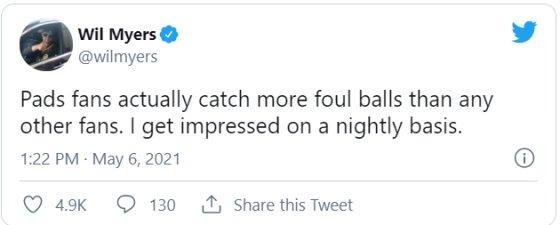 지난 5월 샌디에이고 윌 마이어스가 SNS에 올린 글.  /사진=MLB.com 캡처