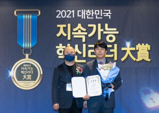 석훈 ㈜키오스킨 브랜드 화장품 블랑카우 대표이사(오른쪽) /사진제공=블랑카우