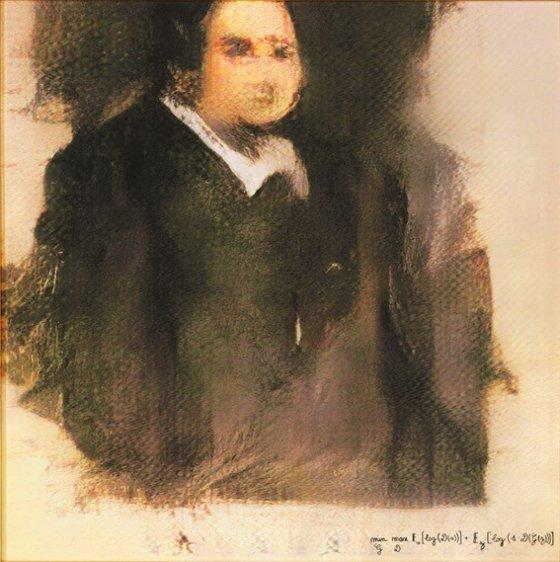GAN (Generative Adversarial Network), '에드몽 벨라미의 초상(Portrait of Edmond Belamy)', 2018.  사진제공= Pamputt via Wikimedia Commons/Public Domain.