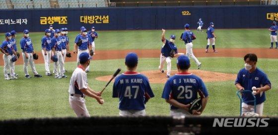 야구 대표팀의 훈련 모습. /사진=뉴시스