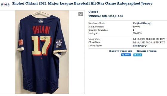 오타니의 친필 사인 올스타게임 저지가 13만 210달러에 팔렸다. /사진=MLB옥션 캡처
