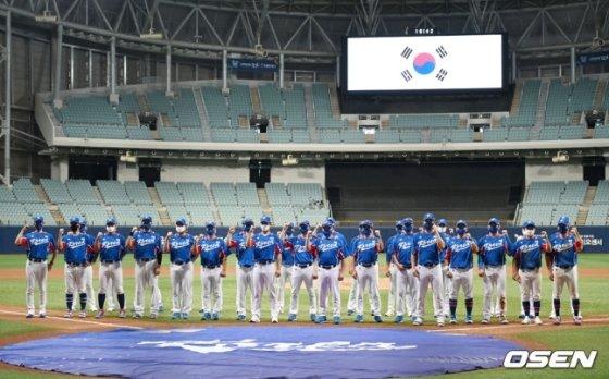 단체사진을 찍은 야구 대표팀./사진=OSEN