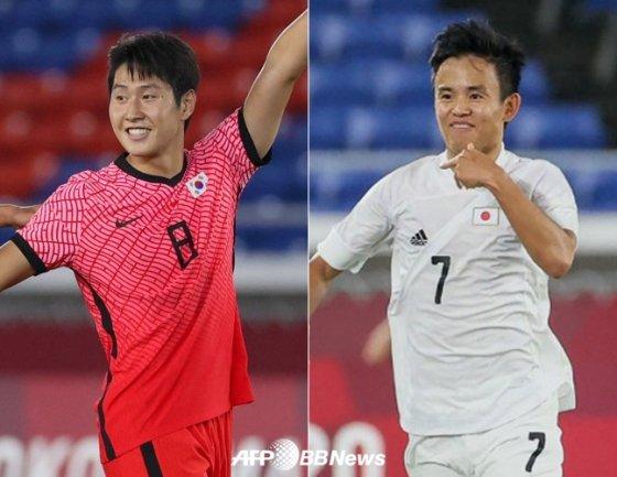 이강인(왼쪽)과 구보 다케후사. /AFPBBNews=뉴스1