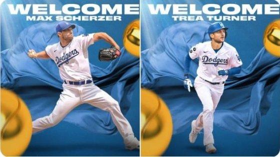 LA 다저스가 트레이드로 영입한 맥스 슈어저와 트레이 터너(오른쪽)./사진=다저스 트위터