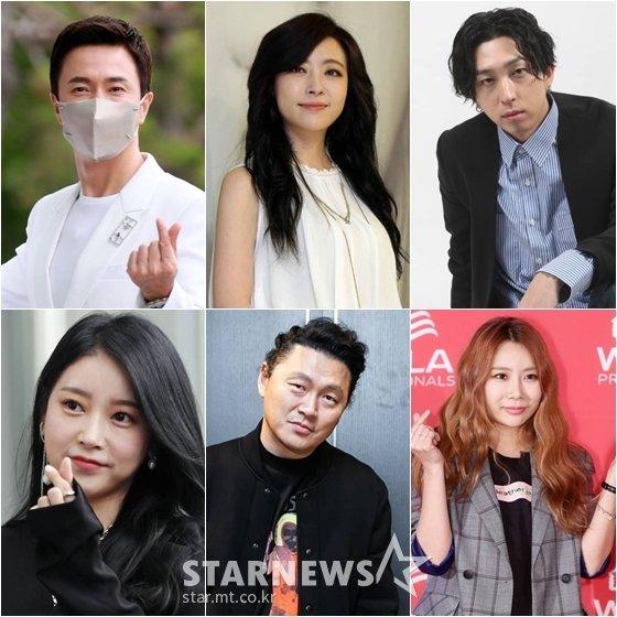 김정민(왼쪽위부터 시계방향), 심은진, 슬리피, 제아, 양동근, 소연 /사진=스타뉴스