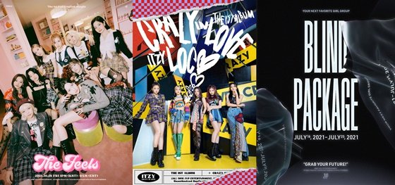 (왼쪽부터)트와이스, ITZY, 신인 걸그룹 블라인드 패키지 포스터 /사진제공=JYP엔터테인먼트