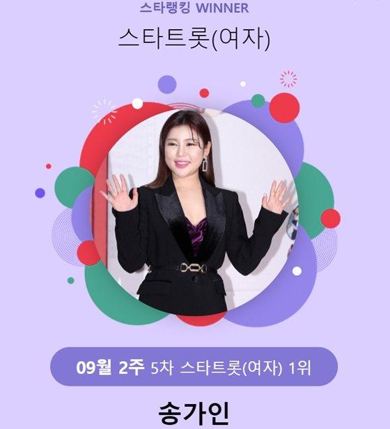 가수 송가인이 9월 2주차 스타랭킹 투표에서 1위에 올랐다./사진=스타랭킹 스타투표