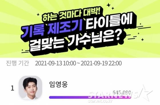 '매일이 기록' 임영웅, '기록제조기 타이틀에 걸맞는 가수' 1위